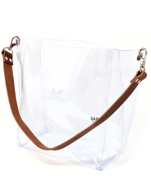 The Large Bucket Tote with Leather Strap - SAX B