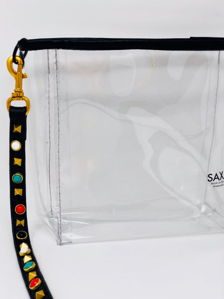 Studded Crossbody Leather Mini Bucket Tote - SAX B