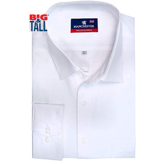 dromstore, Camisa de Vestir Lisa Talla Extra, Modelo MAN763 BLANCO, BIG & TALL SHOP