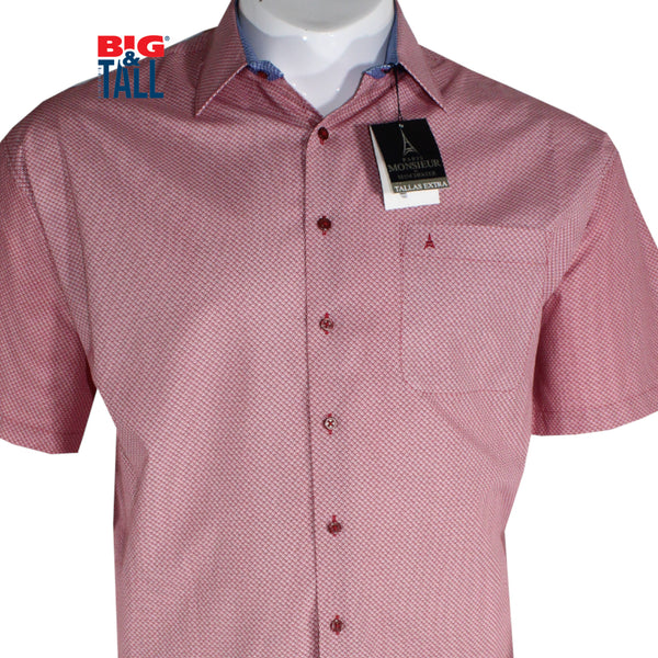 dromstore, Camisa Sport Talla Extra, Mod. MAN738 ROJO, BIG & TALL SHOP