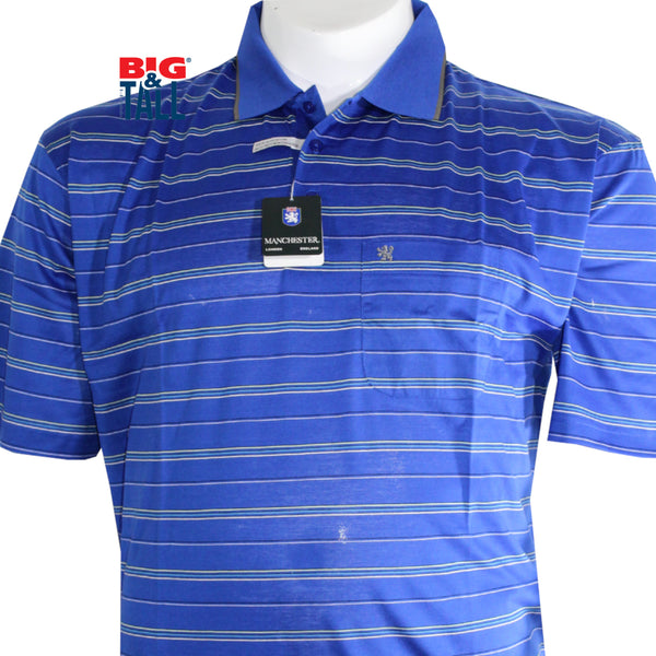 dromstore, Playera Tipo Polo MANCHESTER Talla Extra AZUL Mod. MAN715, BIG & TALL SHOP