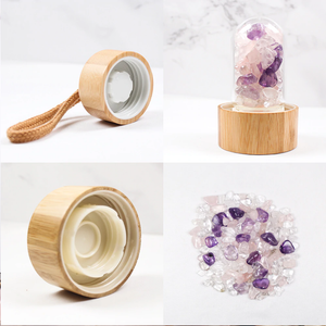 Serenity Crystals Bamboo Bottle with Amethyst, Clear Quartz & Rose Quartz