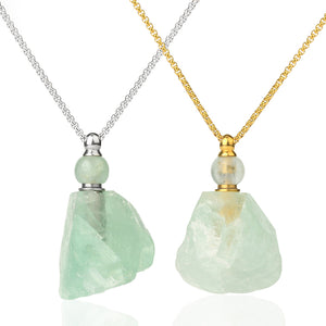 Crystal Essential Oil Necklace - Fluorite and Clear Quartz