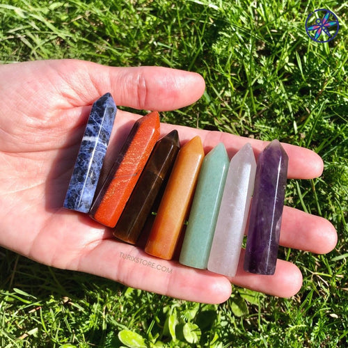 7 Chakras Crystal Points Set + Gift box