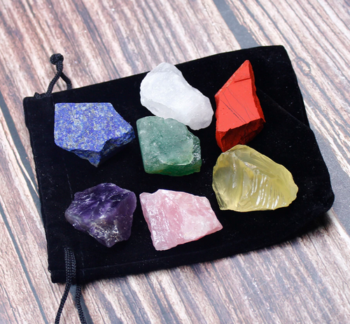 7 Chakras Raw Crystal Set