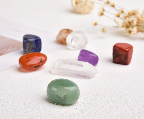 7 Chakras Tumbled Crystal Set - 7 crystals + 1 Extra Clear Quartz