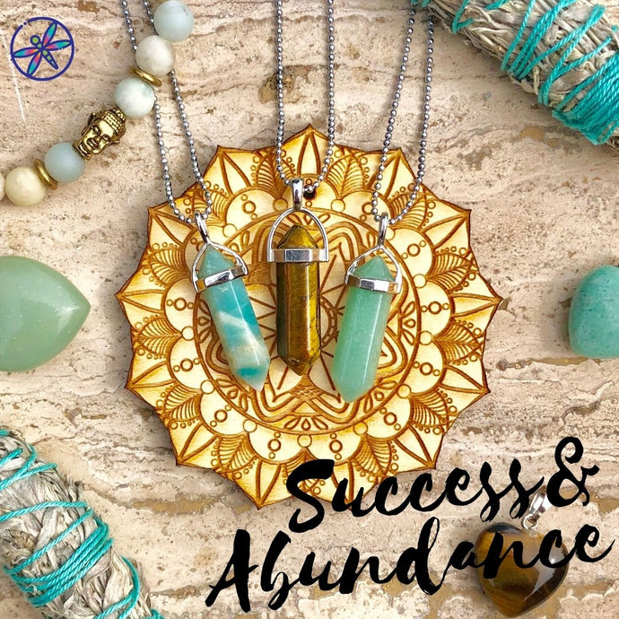 Success & Abundance Crystal Bundle - Amazonite, Tiger Eye & Aventurine