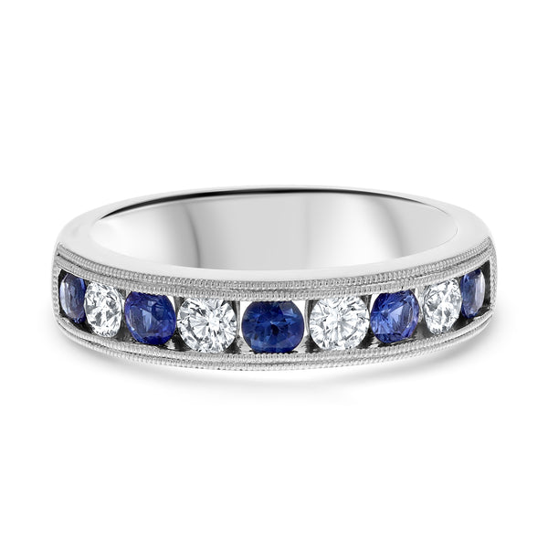 Channel Set Alternating Diamond and Sapphire Band - R&R Jewelers