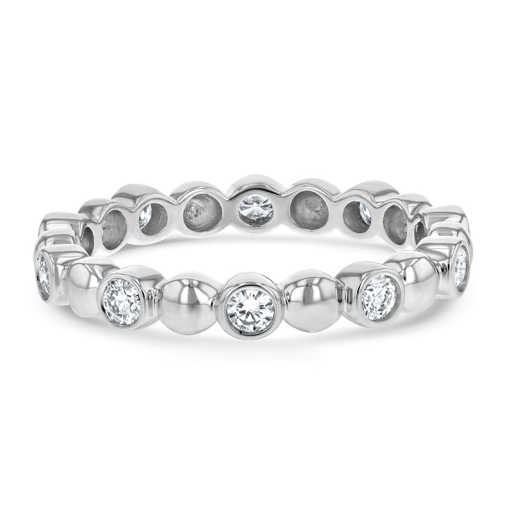 Alternating Bead and Diamond Eternity Ring - R&R Jewelers
