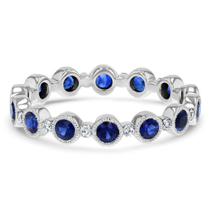 Vintage Alternating Diamond and Sapphire Eternity Band - R&R Jewelers