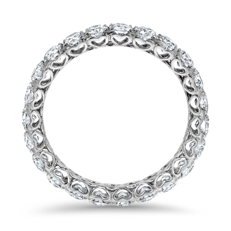 Round Heart Set Eternity Band - R&R Jewelers