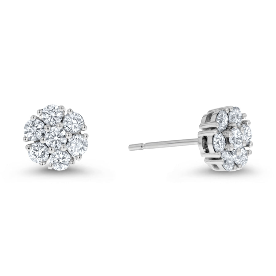Diamond Cluster Stud Earring, 0.84 Carats - R&R Jewelers