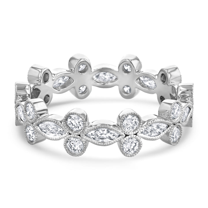 Marquise and Round Floral Eternity Band - R&R Jewelers