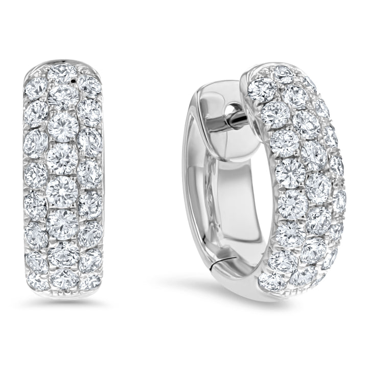 Diamond Pave Huggie Earrings, 0.48 ct - R&R Jewelers