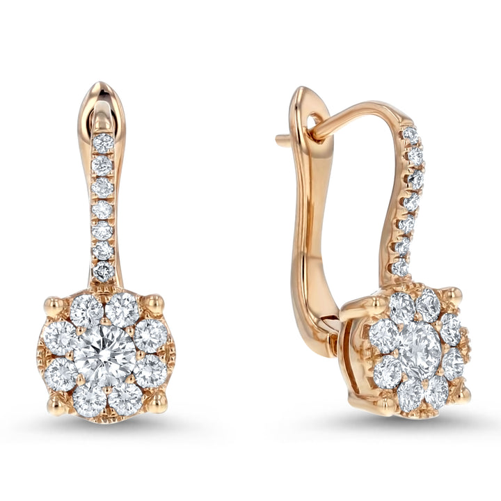 Diamond Cluster Drop Earrings - R&R Jewelers
