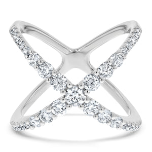 Graduated Diamond X Statement Ring - R&R Jewelers