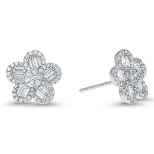 Round and Baguette Diamond Floral Earrings, 0.80 ct - R&R Jewelers