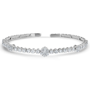Diamond Cluster Station Cuff Bangle, 2.0 ct - R&R Jewelers