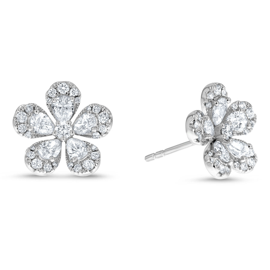 Diamond Floral Stud Earrings - R&R Jewelers