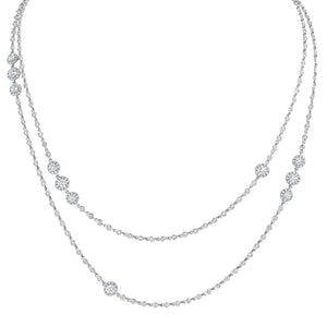 Diamond Cluster Station Necklace - R&R Jewelers