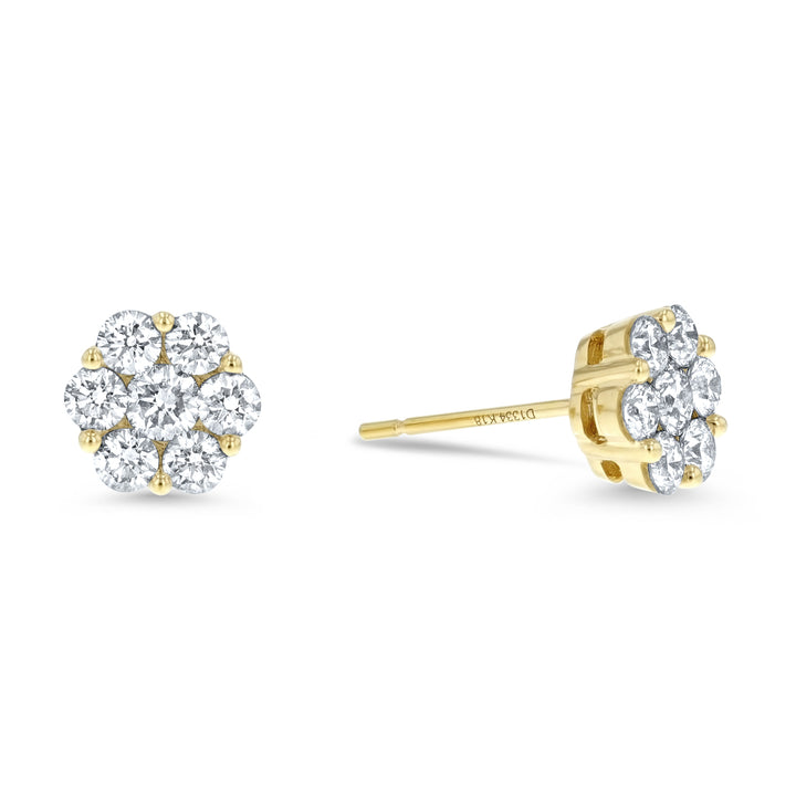 Diamond Cluster Stud Earrings, 1.34 Carats - R&R Jewelers