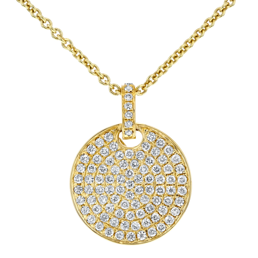 Pave Diamond Disc Pendant, 0.64 ct - R&R Jewelers