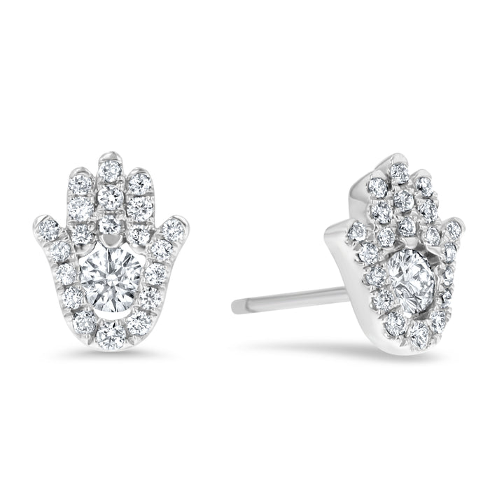 Diamond Hamsa Stud Earrings - R&R Jewelers