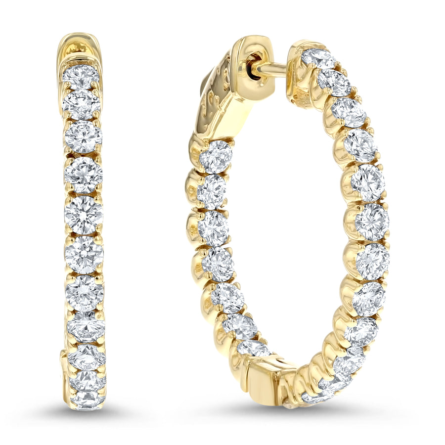 Inside Out Diamond Hoop Earrings, 2.30 ct - R&R Jewelers