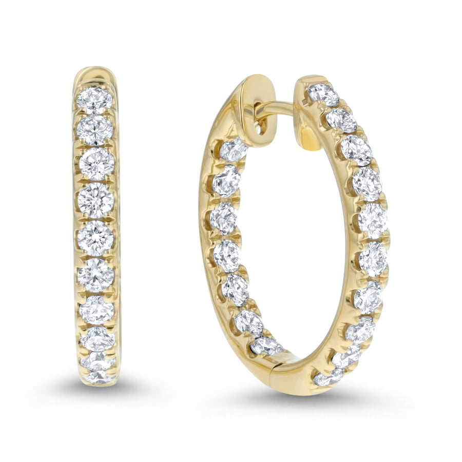 Inside Out Diamond Hoop Earrings, 1.36 ct - R&R Jewelers