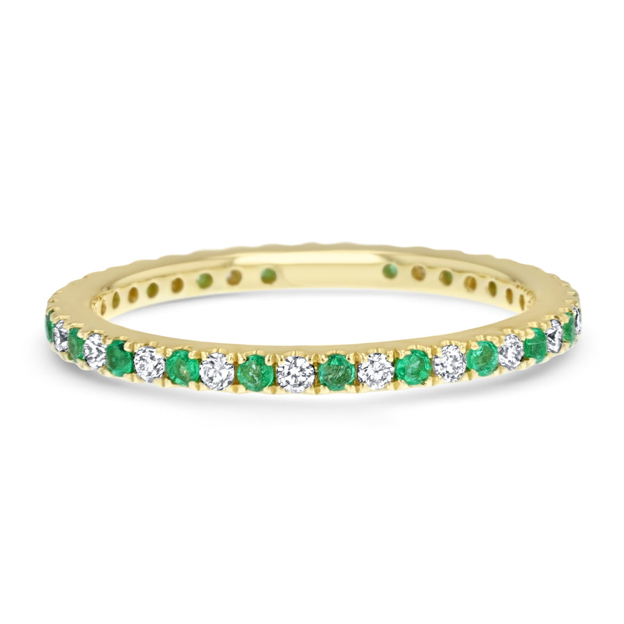 Alternating Diamond and Emerald Eternity Band - R&R Jewelers