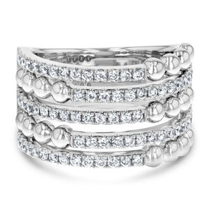 Alternating Diamond Pavé and Ball Stack Ring - R&R Jewelers