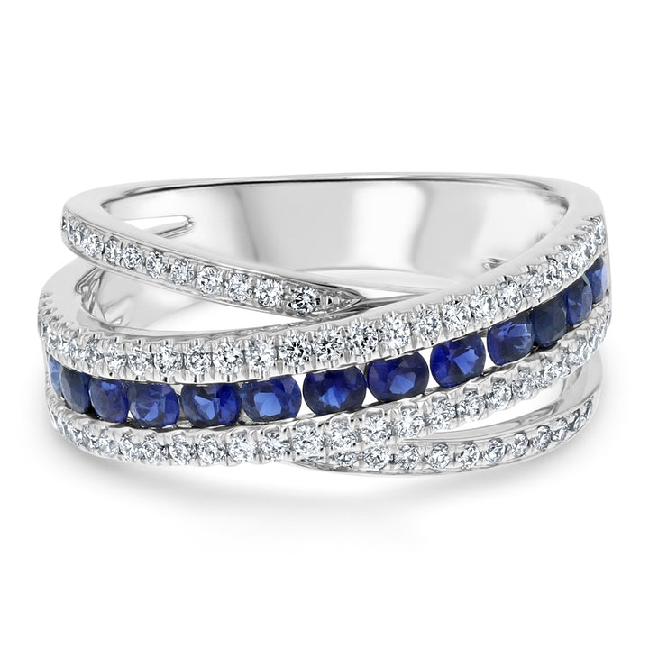 Diamond and Sapphire Cross Over Ring - R&R Jewelers