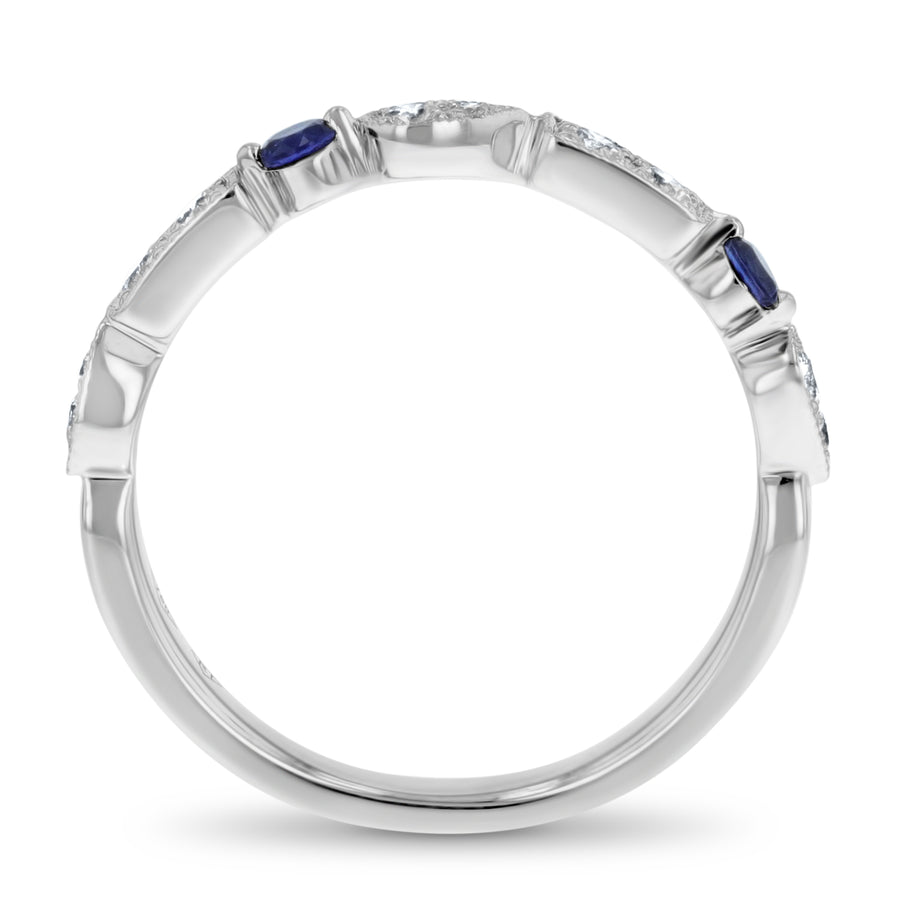 Art Deco Multi-Shape Diamond and Sapphire Band - R&R Jewelers