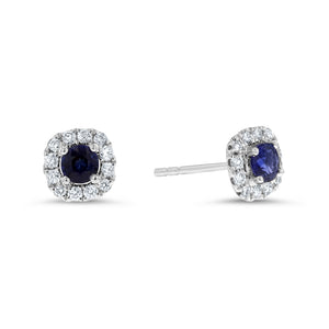 Diamond and Sapphire Halo Stud Earrings - R&R Jewelers