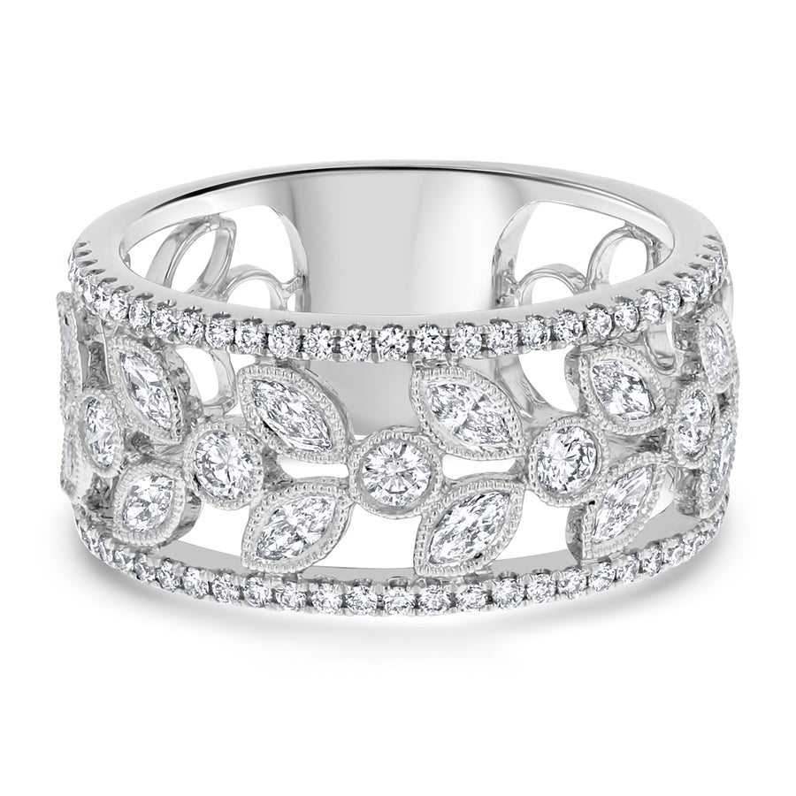 Floral Marquise and Round Diamond Ring - R&R Jewelers