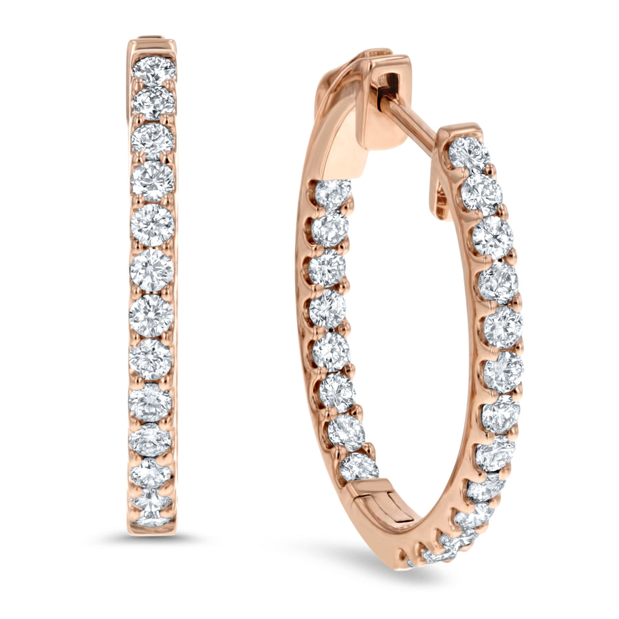 Inside Out Diamond Hoop Earrings, 0.60 ct - R&R Jewelers