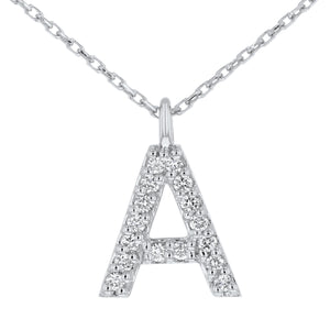 "Initial ""A"" - Diamond Pendant in White Gold, 0.16 Carats"