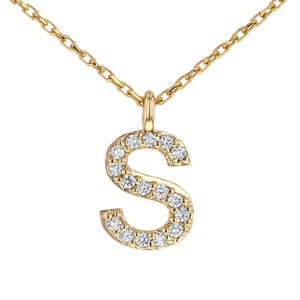 Initial Pendant in 14K Gold - With Diamonds