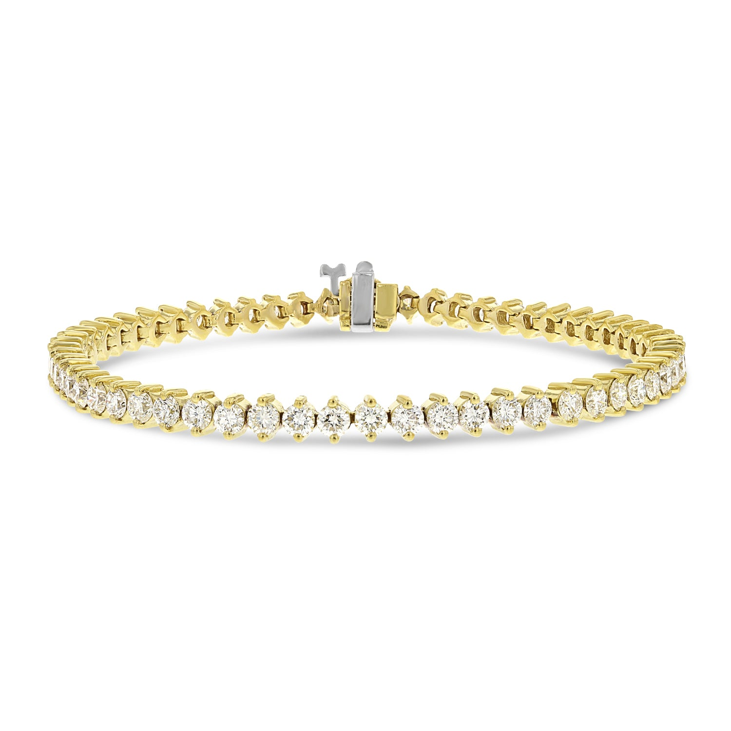 18K Yellow Gold Diamond Tennis Bracelet, 5.30 Carats