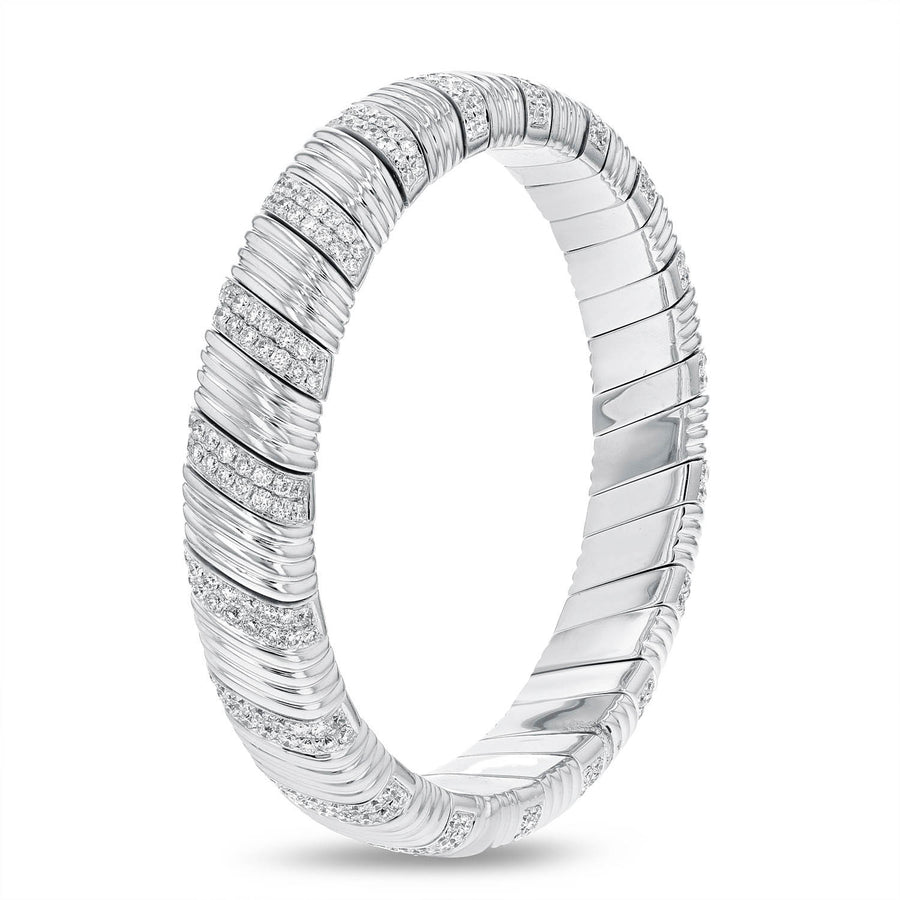 18K White Gold Diamond Bangle, 4.44 Carats - R&R Jewelers