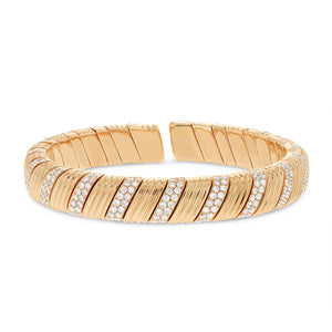 18K Rose Gold Diamond Cuff Bangle, 4.57 Carats - R&R Jewelers