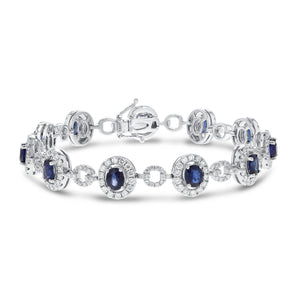18K White Gold Sapphire and Diamond Bracelets, 7.51 Carats