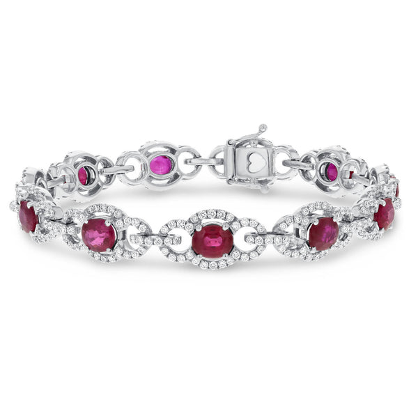 Diamond and Ruby Link Bracelet - R&R Jewelers