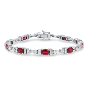 18K White Gold Diamond and Gemstone Bracelet, 9.38 Carats