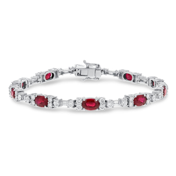 Oval Ruby and Diamond Bracelet - R&R Jewelers
