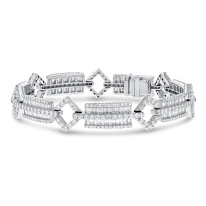 Baguette and Round Diamond Fancy Link Bracelet - R&R Jewelers