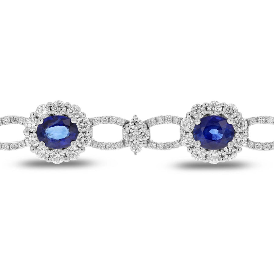 Diamond and Sapphire Link Bracelet - R&R Jewelers
