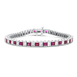 14K White Gold Diamond and Gemstone Bracelet, 10.39 Carats