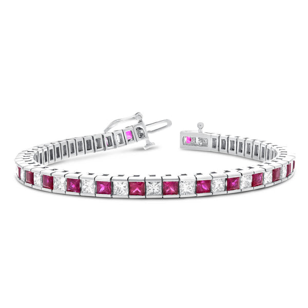 Alternating Diamond and Ruby Princess Cut Bracelet - R&R Jewelers
