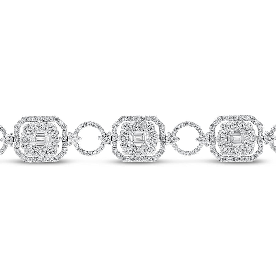 18K White Gold Diamond Bracelet, 7.05 Carats - R&R Jewelers